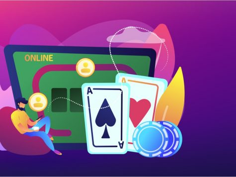 Illustration of man playing online casino on his phone